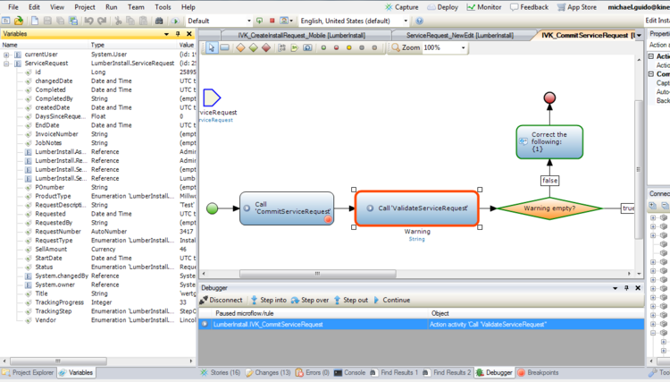 Visual Debugging in Mendix. Left panel depicts Input parameters /available attribute values for inspection (or confirmation), Middle Panel depicts control in debugger panel (step into, step over, step out, continue), and Center Panel depicts microflow with red highlighted subflow indicating where in the execution the application / debugger is.